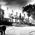 Pingree Street off Linwood goes up in flames. This all started when an irate rioter tossed a fire bomb into the corner store because of a grievance with the owner. As the 25 mile per hour winds feed the flames, the fire spread from house to house, resulting in the loss of most of the block.