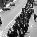 After Evers funeral in Jackson, the senior leaders (MLK & Rev Shuttlesworth, 2nd row) were allowed by the mayor to march on Farish Street under strick orders not to sing or shout slogans.